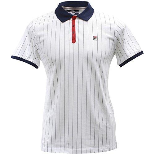 Fila Men's BB1 Polo Shirt, White, Navy, Chinese Red, L - Jersey Vintage Polo Shirt