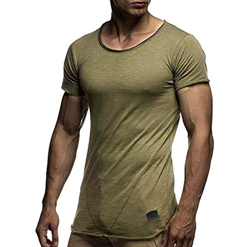 OrchidAmor 2019 Men's Solid Pattern Casual Comfy Gym Soft Cotton Fashion Stripe Lapel Short Sleeve Shirt Army Green