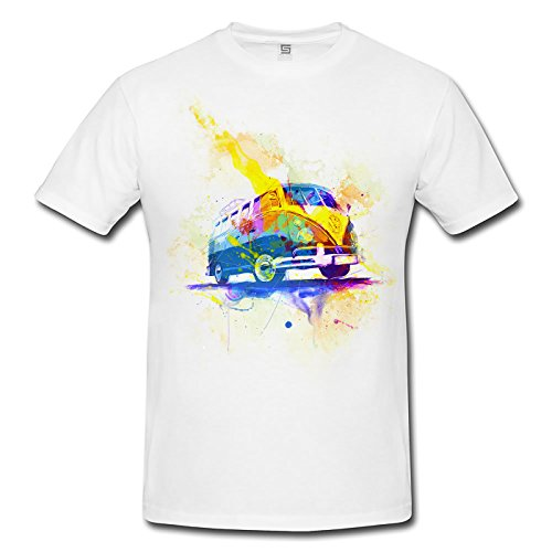 VW Bus T1 Herren T- Shirt , Stylisch aus Paul Sinus Aquarell Color