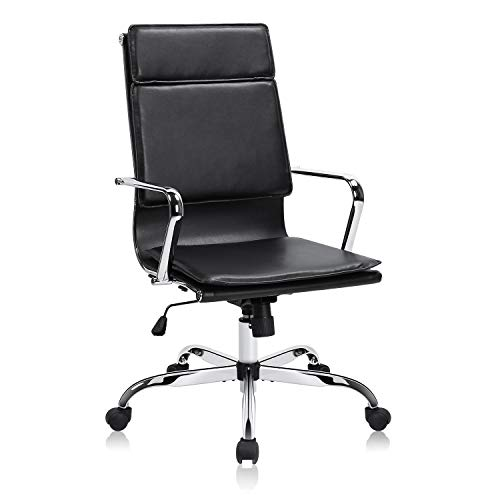 MDL Furniture Executive Office Chair High Back Ribbed Office Chair Thick Padded Office Desk Chair Sturdy Chrome Frame Swivel Chair Bonded Leather(Black)