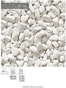Zandobbio - Piedras de mármol Blanco Carrara - Saco de 25 kg - Piedras Decorativas para jardín: Amazon.es: Jardín
