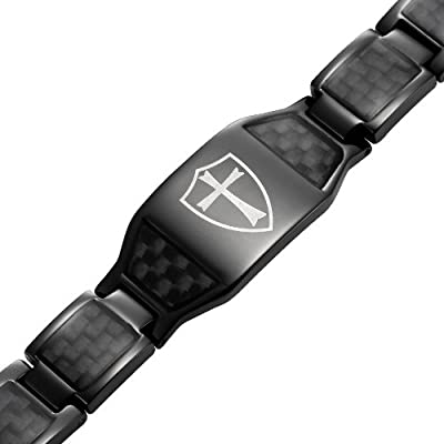 Black Titanium Magnetic Bracelet Knights Templar Cross Shield Black by Willis Judd
