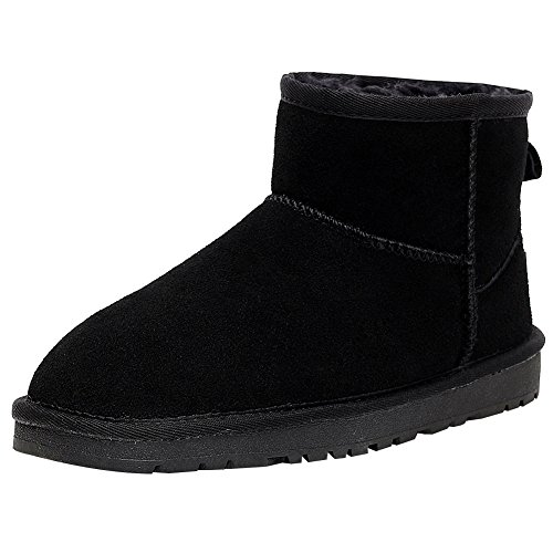 rismart Women Winter Warm Fur Lined Ankle Boots Comfort Suede Snow Boots Black SN1054 US6.5