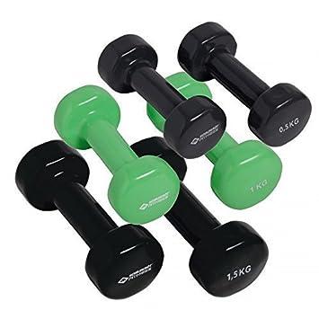 SCHILDKROT mancuernas Aerobics doméstica Fitness Ejercicio Entrenamiento Set de hierro fundido mancuernas de vinilo negro-verde Talla:3 kg: Amazon.es: ...