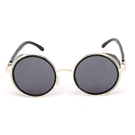 WARM home Hermoso Retro Redondo Steampunk Gafas de Sol ...
