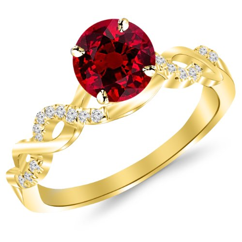 2.13 Carat 14K Yellow Gold Twisting Infinity Gold and Diamond Split Shank Pave Set Diamond Engagement Ring with a 2 Carat Natural Ruby Center (Heirloom - Natural Ct 2.13