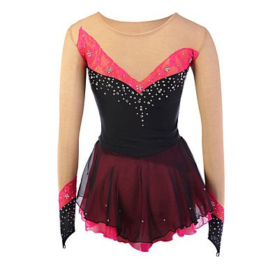 Make Figure Skating Dress (Skating Queen Figure Skating Dress for Girls Women Ice Skating Competition Performance Costume Rhinestone Spandex Lace Handmade Skating Wear Long Sleeves Black Red, child 10)