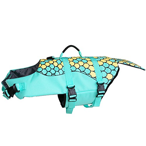 Ofilon Dog Life Jacket, Ripstop Pet Life Vest Preserver for Small, Middle, Large Size Dogs Water Safety Swimsuit Flotation Device at the Pool Swimming, Beach, Boating (Green Mermaid, (Cocoa Cotton Border)