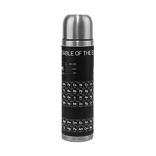 ALAZA Periodic Table of Elements Black Double Wall Water Bottle Vacuum Insulated Thermos Flask Genuine Leather Wrapped 17 Oz