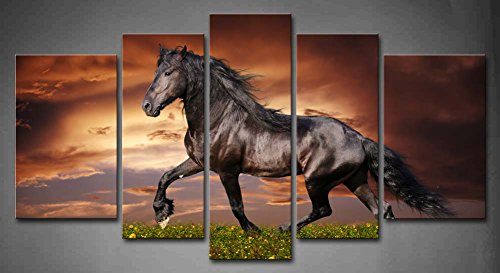 5 Panel Wall Art Black Friesian Running Horse Trot On The Field On Sunset Grass And Flower Painting Pictures Print On Canvas Animal The Picture For Home Modern Decoration piece (A)