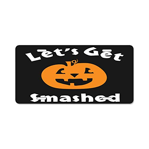 YEX Beautiful Halloween Pumpkin Let's Get Smashed License Plate Frame Car Licence Plate Covers Auto Tag Holder 6