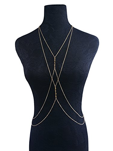 Body Chain Zerowin Alloy Crystal-liked Multilayer Cross Chain Swimsuit Bikini Belts for womens summer beach swmming sports decor