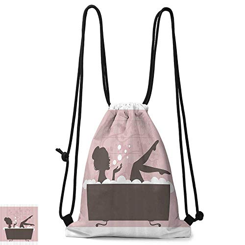 Personality backpack Teen Girl Women Decor Beautiful Woman in Bath Tub Spa Relaxation Treatment Concept Vintage Style W14
