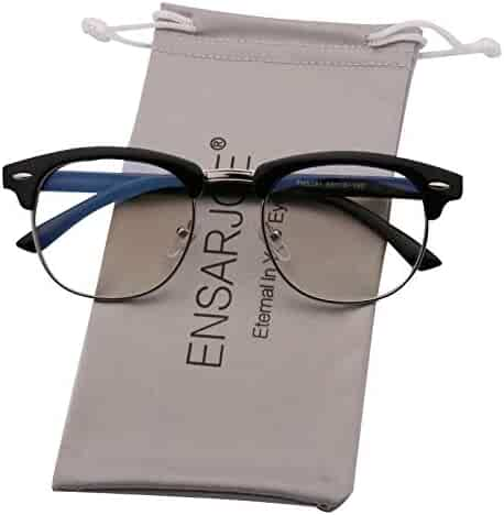 4c092054de ENSARJOE Blue Light Blocking Glasses Semi Rimless Nerd Eyeglasses Frame  Anti Blue Ray Computer Game Eyewear