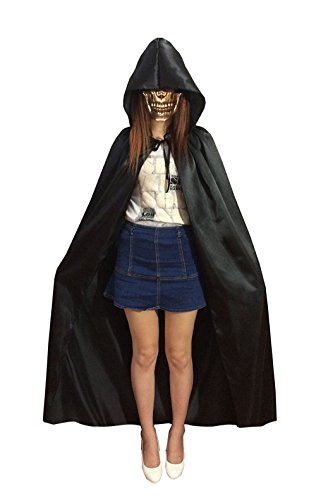 [Adult Christmas Halloween Party Hooded Cloak Vampire Role Play Costumes Capes (Medium, Black)] (Adult Vampire Halloween Costumes)