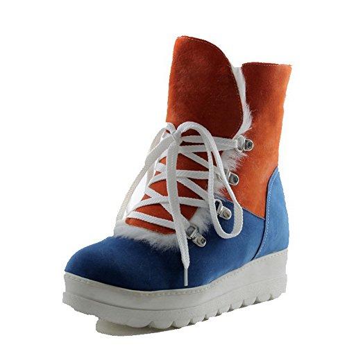 AllhqFashion Mujeres Caña Baja Colores Surtidos Cordones Mini Tacón Botas Azul