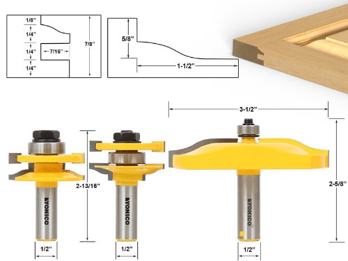 Yonico 12337 Rail and Stile Panel Raiser Router Bit Set with Large Ogee 1/2-Inch Shank, 3-Piece