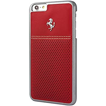 dee4adccf37298 Ferrari GT Berlinetta Hard Case Perforated Leather for iPhone 6 Plus 6S  Plus - Red