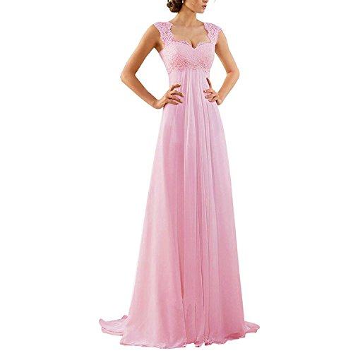 Schnuerung Aiyana A Abendkleid Brautkleid Langes Spitze Kleid Rueckenfrei Rosa Linie Chiffon Rueckenfrei ZpAqgW0pw