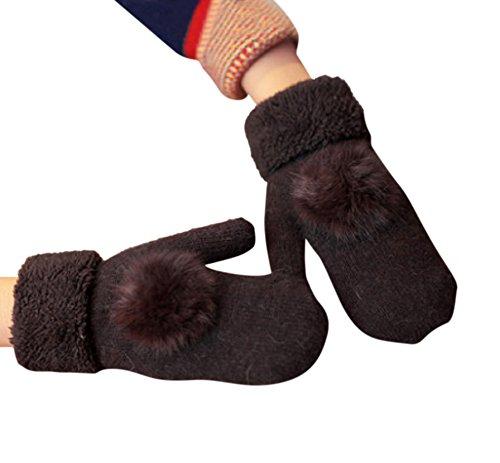 ペルメルバイアスばかげたformanism もこもこ あったか ボア 起毛 ウール カシミヤ 手袋 ボンボン レディース 全9色 カラ- (ブラウン)