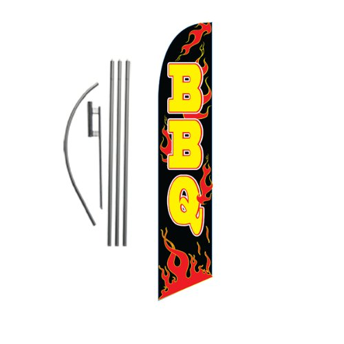 Barbeque BBQ 15ft Feather Banner Swooper Flag Kit - INCLUDES 15FT POLE KIT w/ GROUND SPIKE by FFN