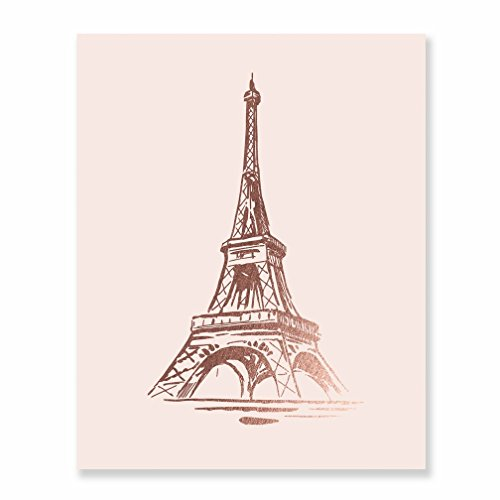 (Eiffel Tower Rose Gold Foil Print Wall Art Home Decor France Paris Fashion Blush Pink Poster Metallic 8 inches x 10 inches B19)