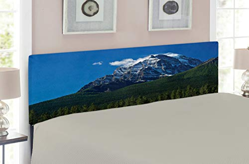 Ambesonne Mountain Headboard for Full Size Bed, Snow Covered Mountain Peaks with Vivid Sky and Vibrant Trees National Park, Upholstered Decorative Metal Headboard with Memory Foam, Green Blue White ()