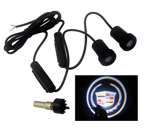 2 X SUNDELY Car Door Led Laser Welcome Projector Logo Ghost Shadow Light for Cadillac