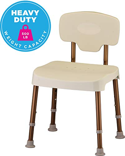 NOVA Bariatric Shower and Bath Chair with Back, Heavy Duty 500 lb. Weight Capacity, Quick & Easy Tools Free Assembly, Lightweight and Seat Height Adjustable, Almond Color Seat & Back with Bronze Frame ()