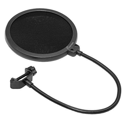 eBerry Microphone Pop Filter, 6-inch Pop Filter Net Mic for Studio Condenser Microphone Elastic Double Layer Wind Screen Mask Shield Swivel Mount 360 Flexible Gooseneck Holder Universal Stand Clip