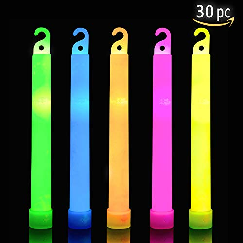 30 Ultra Bright Glow Sticks Plus 30 Party Strings - Total 60 Pcs - Bulk Pack Industrial Grade - 6 Inch Waterproof Glow Stick - Glow Light With 12 Hour Duration - Mixed Colors - Bend, Shake To Activate -