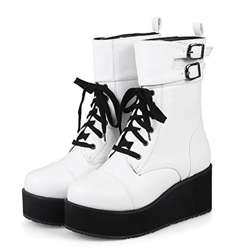Aisun Women's Casual Buckle Strap Round Toe Lace Up Martin Boots Platform Mid Heel Wedge Ankle Booties