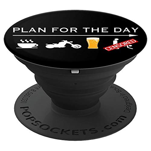 Motorcycle Biker T-Shirt Plan For The Day Adult Humor Tee - PopSockets Grip and Stand for Phones and Tablets