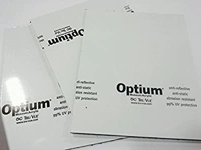 Different sizes, Custom cut, TRU VUE OPTIUM MUSEUM ACRYLIC®, 3.0mm (.118 inch) thick. Archival glazing, UV pro non-glare surface, Anti-reflective coating, amazing clarity.