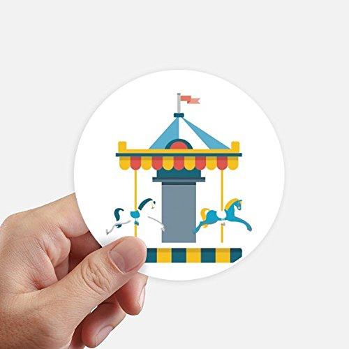 DIYthinker Amazing Funny Park Carousel Illustration Round Stickers 10cm Wall Suitcase Laptop Motobike Decal ()