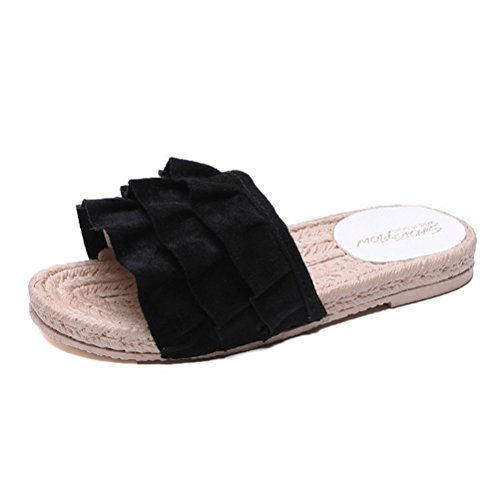 Slipper Beach Outdoor Indoor Shoes Flat Sandals Black Slipper ENCOCO Ruffle Sandals Women Breathable YwXIxnBqv