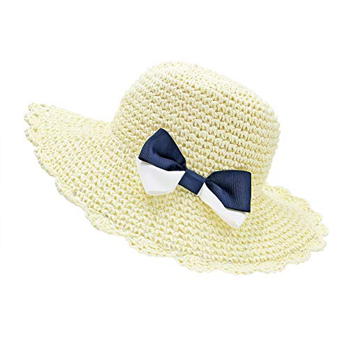 Baby Paper Straw Hat - Kids Toddler Floppy Straw Sun Hat with Bowknot White Summer Beach Protection Sombrero Cap for Boy Girl (Crocheted Hats For Girls)