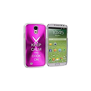 Hot Pink Samsung Galaxy S4 S IV i9500 Aluminum Plated Hard Back Case Cover KK213 Keep Calm and Cook On Chef Knives