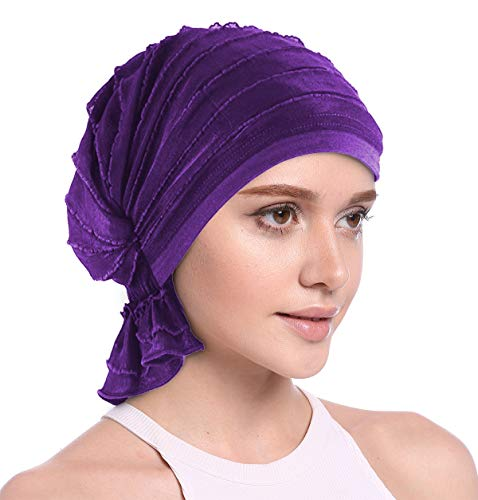 (JarseHera Ruffle Chemo Turban Slip-on Cancer Scarf Stretch Cap Headwear for Hair Loss (Purple,Pink 1 Pair, One Size Fit All))