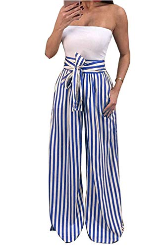 Striped Wide Leg Pants - HyunQJ Womens Palazzo Striped Pants Casual Wide Leg Pant High Waist Loose Pants with Tie-Blue-M
