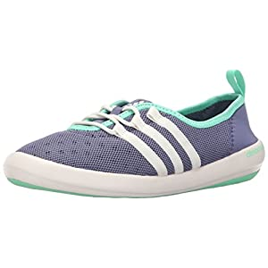 adidas Outdoor Women's Climacool Boat Sleek Water Shoe, Super Purple/Chalk White/Green Glow, 10 M US