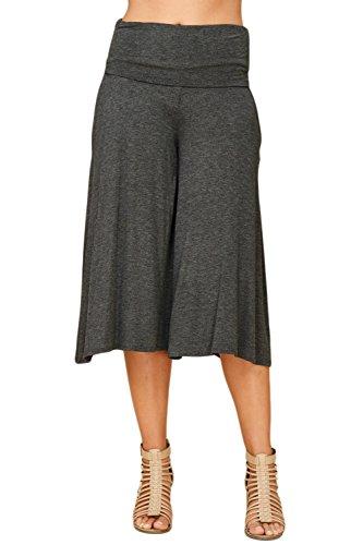 Annabelle Women's Fold Over Waist Wide Leg Culotte Gaucho Capri Pants Large Mid Grey P9023 ()