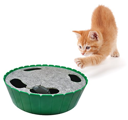 Purrfect Feline-Premium Interactive Cat Toy, Burrow Mouse, Hide & Seek Game, Twitch & Flee, Electronic Exerciser, Teaser, Safe, Quiet Track Technology, Active Healthy Lifestyle for Cats(Peek-A-Mouse)