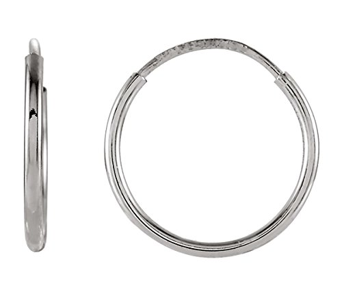 14K Gold Thin Continuous Endless Hoop Earrings (1mm Tube) (12mm - White Gold)
