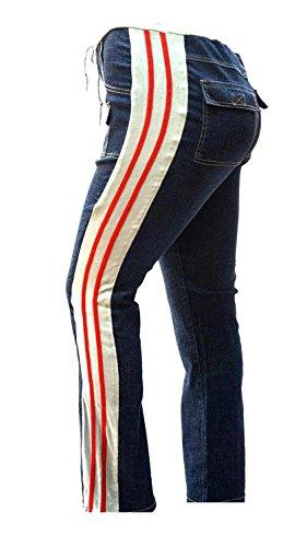 WOMENS PLUS SIZE BLUE Denim JEANS STRIPED SIDE SEAM Stretch straight leg PANTS ()