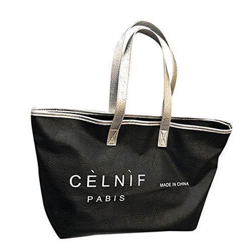Women's Soft PU Leather Work Tote Capacity Shoulder Bag Lightweight Travel Bag for Computer/MacBook/Ultrabook (Black,)