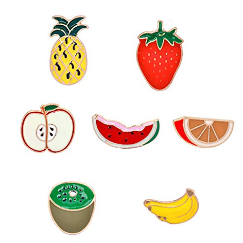 Brooch Fruit Pin (kingfishertrade-ltd Fashion Cartoon Enamel Brooch Pins Set for Unisex Child Women's Clothing Decorate (Fruits Set))