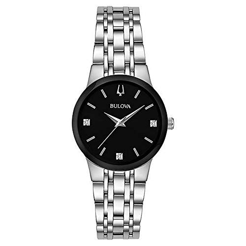 Bulova 96P200 3 Diamonds Silver Tone Black Dial Women's Modern Dress ()