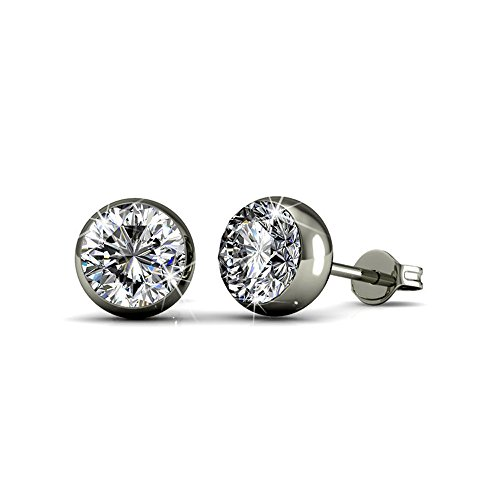 Cate & Chloe Blaire 18k White Gold Crystal Stud Earring with Swarovski, Twilight Sparkle Round Cut Diamond Swavorski Crystal Silver Studs Earring Set, Wedding Anniversary - Hypoallergenic from Cate & Chloe