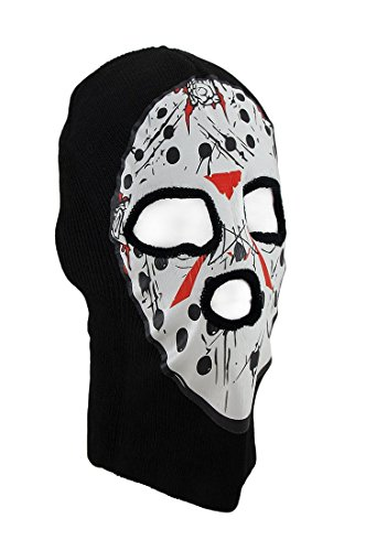 Black / White Seral Killer Hockey Mask Knit Ski Hat (Hockey Mask Killer)